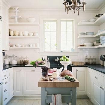 Lonny Magazine - kitchens - white, floating shelves, subway tiles, backsplash, white, kitchen cabinets, soapstone, countertops, soapstone, apron, sink, gray, kitchen island, butcher block, countertop, U shaped kitchen, U shaped kitchen design,