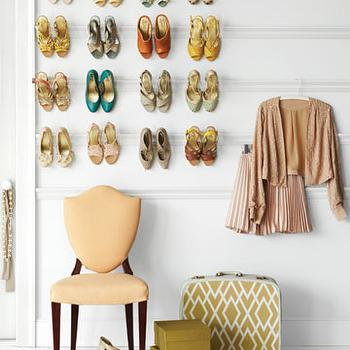 Martha Stewart - closets - picture ledges, shoe shelves, shield, back, chair, shield back chairs, upholstered shield back chairs, shoe shelves, shelves for shoes, shoe storage, closet shoes, shoe closet, closet shoe shelves,