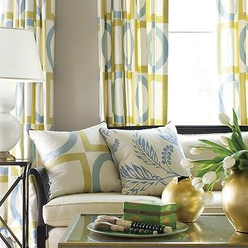 New England Home - living rooms - gray, walls, yellow, blue, geometric, pattern, drapes, gray, coffee table, gold, vases, green, yellow, pillows, geometric curtains, geometric drapes, yellow and blue curtains, yellow and blue drapes, yellow and blue geometric curtains, yellow and blue geometric drapes, geometric window panels, Robert Abbey Double Gourd Accent Lamp - White,