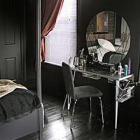 Grumbles & Grunts - bedrooms - black, walls, glossy, black, floors, black, poster, bed, vanity, black walls, black paint, black paint color,