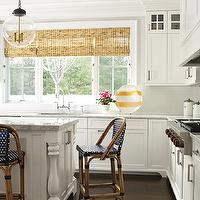 New England Home - dining rooms - French, cafe, counter stools, floor to ceiling, white, kitchen cabinets, white, kitchen island, turned legs, marble, countertops, subway tiles backsplash and bamboo roman shades., Horchow Mini Lightbulb Pendant,