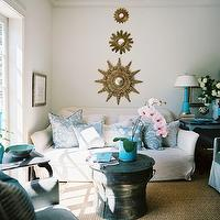 Lonny Magazine - living rooms - mirrors, white, slipcover, sofa, teal, damask, pillows, rain, drum, table, turquoise, blue, lamp, blue, vintage, table, sunburst mirror, gold sunburst mirror, sunburst wall decor, collection of sunburst mirrors, sunburst wall decor, Suzanne Kasler Set of 3 Sunburst Mirrors,