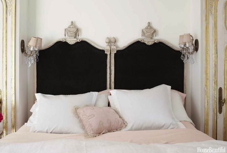 Suzie: House Beautiful - Vintage French bedroom with black velvet headboards and pink bedding.