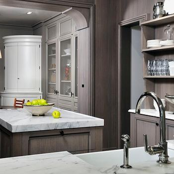 Peter Block Caseworks - kitchens - farmhouse, sink, gray wash, kitchen cabinets, kitchen island, marble, countertops, gray washed cabinets, gray washed kitchen cabinets,