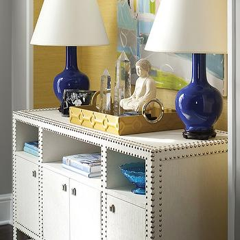 Cobalt Blue Lamps, Contemporary, entrance/foyer, New England Home