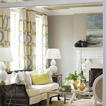 New England Home - dining rooms - transom window, citrine, gold, yellow, metallic, ceiling, gray, walls, yellow, blue, geometric, pattern, drapes, black, cane, sofa, canary, yellow, pillow, brass, directoire, end tables, gray, coffee table, burlap, French, chairs, sisal, rug, fireplace, white double gourd lamp, double gourd lamp, robert abbey lamps, robert abbey gourd lamps, robert abbey double gourd lamps, Robert Abbey Double Gourd Accent Lamp,