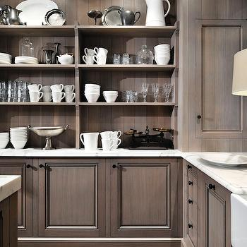 Peter Block Caseworks - kitchens: farmhouse, sink, gray wash, kitchen cabinets, marble, countertops, gray washed cabinets, gray washed kitchen cabinets,