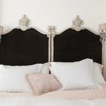 House Beautiful - bedrooms - French, vintage, black, headboards, pink, duvet, shams, black headboard, black velvet headboard, black and pink headboard,