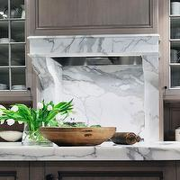 Peter Block Caseworks - kitchens - grey wash, kitchen cabinets, kitchen island, marble, slab, countertops, backsplash, taupe cabinets, taupe kitchen cabinets,