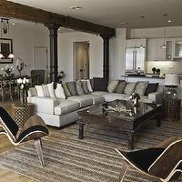 Marie Burgos Design - living rooms - shell chairs, jute rug, sectional sofa, pillows, shaker style cabinets, columns, beam,  This living room