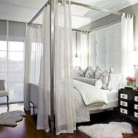 Traditional Home - bedrooms - gray, wallpaper, metal, canopy, bed, white, tufted, headboard, linen, panels, white, gray, trellis, pillows, gray, bolster, pillow, duvet, espresso, nightstands, tall tufted headboard, white tufted headboard, tufted headboard, white tall headboard, big headboard, Ikea Rens Sheepskin,