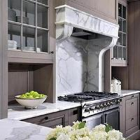 Peter Block Caseworks - kitchens - grey wash, kitchen cabinets, marble, slab, countertops, backsplash, grey cabinets, grey kitchen cabinets,