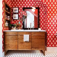 Christopher Patrick Interiors - bathrooms - Farrow & Ball, pinwheel tile, MTI Baths, Waterworks, Ann Sacks tile, Charles Luck, custom vanity, carrera marble,