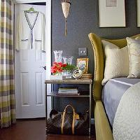 Christopher Patrick Interiors - bedrooms - custom bed, maya romanoff wallpaper, drapery, rug, yellow headboard, yellow leather headboard, yellow wingback headboard, yellow and gray curtains, yellow and gray drapes, yellow and gray window panels,