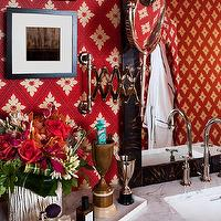 Christopher Patrick Interiors - bathrooms - Farrow & Ball, wallpaper, red bathroom, eclectic, shower, custom vanity, teak, visual comfort, hansgrohe,