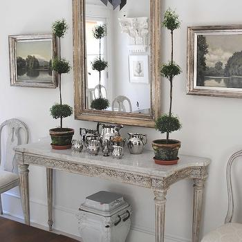 Loi Thai - dining rooms - topiary, marble, top, French, console, table, white, washed, mirror, gray, French, doors, swedish console table,  Tone