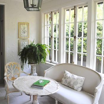 Loi Thai - living rooms - French windows, white, gray, French settee, white, washed, table, iron, lantern, french settee, linen settee, linen french settee, gray settee, gray linen settee, gray french settee, upholstered settee, upholstered french settee,