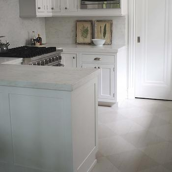 Loi Thai - kitchens - gray, tone on tone, diamond, pattern floors, white, kitchen cabinets, marble, countertops, marble, subway tiles, backsplash, peninsula, checkered floor, checkered kitchen floor, gray checkered floor,