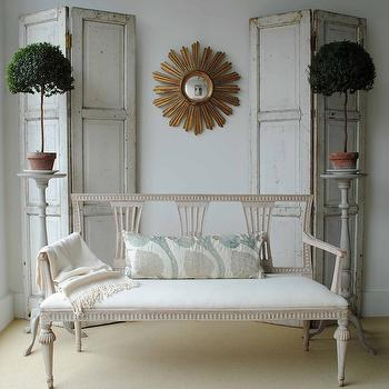 Loi Thai - living rooms - antique, shutters, screens, gold, sunburst, mirror, French, settee, flanked, topiaries, sunburst mirror, gold sunburst mirror,