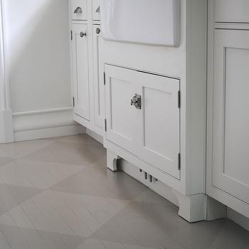 Loi Thai - kitchens - farmhouse, sink, white, kitchen cabinets, gray, tone on tone, painted, diamond, pattern floors, checkered floor, checkered kitchen floor,