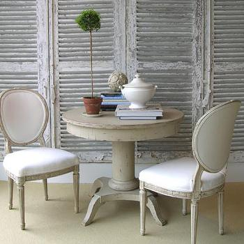 Loi Thai - dining rooms - antique, shutters, screens, vintage, round, pedestal, table, French, chairs, topiary, round back chairs, round back dining chairs,