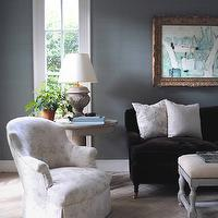 Loi Thai - living rooms - Hinson, blue, seagrass, wallpaper, rococo, mirror, chocolate, brown, tufted, velvet, sofa, black, caster legs, gray, bench, nailhead trim, Swedish, pedestal, table, brown sofa, velvet sofa, brown velvet sofa,