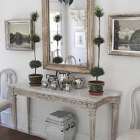 Loi Thai - dining rooms - topiary, marble, top, French, console, table, white, washed, mirror, gray, French, doors,  Tone on Tone - Stunning
