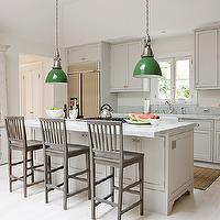 Loi Thai - kitchens - light gray, shaker, kitchen cabinets, kitchen island, white, carrara, marble, countertops, cooktop on kitchen island, farmhouse, sink, gray, wood, counter stools, gray kitchen cabinets, light gray kitchen cabinets, gray shaker cabinets, gray shaker kitchen cabinets,