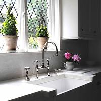 Loi Thai - kitchens - leaded, windows, white, shaker, kitchen cabinets, marble, slab, countertops, backsplash, farmhouse, sink, polished nickel, bridge, faucet, leaded windows, leaded glass windows,