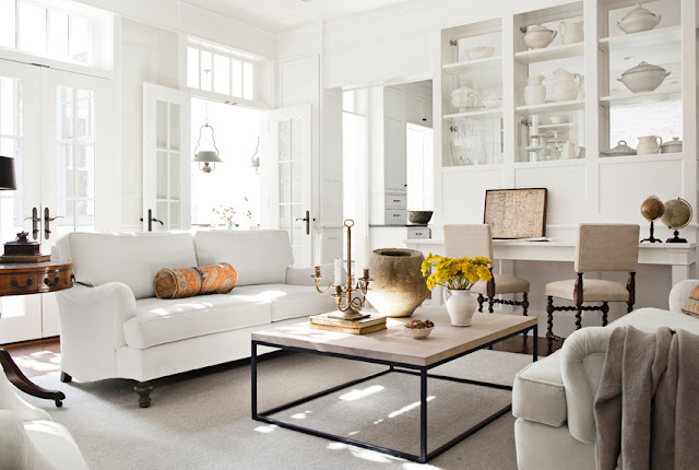 Darryl Carter - living rooms - Benjamin Moore - Huntington White - French doors, transom, windows, white, sofas, brickmakers, coffee table, built-ins, white paint, white paint, white paint colors, white walls, white living room walls, white living room colors, white living room paint colors,