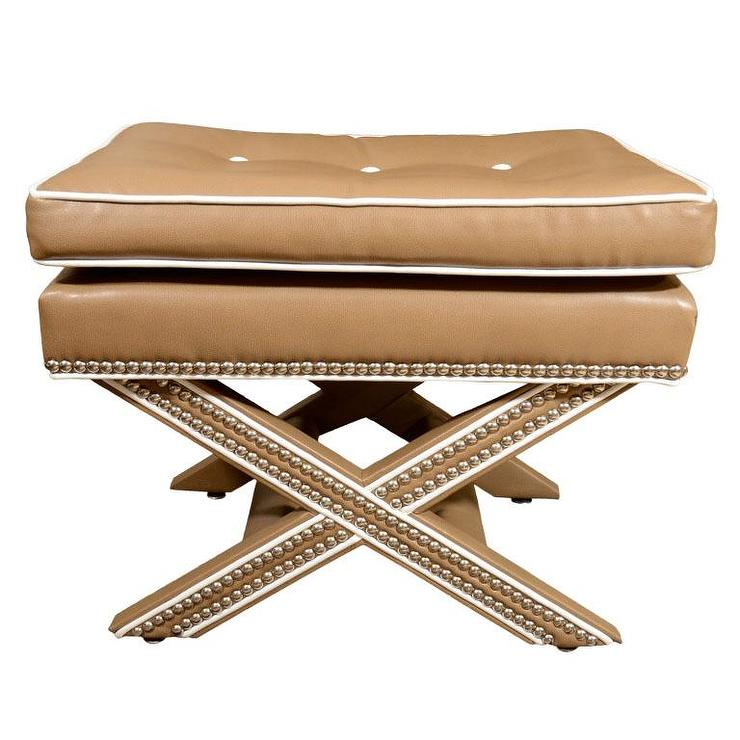 Seating - X Bench with Nail Heads - x, bench, ottoman, tufted, nailhead trim