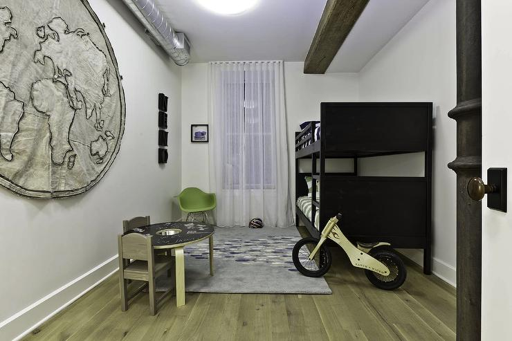Marie Burgos Design - boy's rooms - Benjamin Moore - Decorators White - bunk bed, natural oak floors, bike, wall map, rocker chair, chalk board table, kids room, fabric world map,