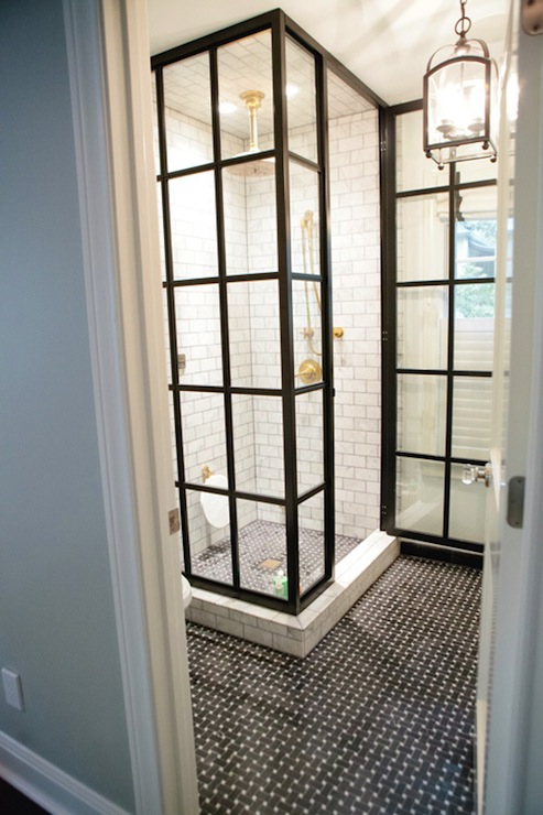 Peppermint Bliss - bathrooms - glass, shower, subway tiles, shower surround, iron, lantern, black, marble, basketweave, tiles, floor, subway tile shower, white subway tiles, white subway bathroom tile, white subway tile shower,