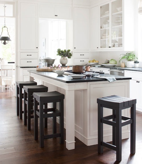 Darryl Carter - kitchens - Benjamin Moore - Bancroft White - Benjamin Moore's Phelps Black, white, kitchen cabinets, green, soapstone, countertops, custom, stools,