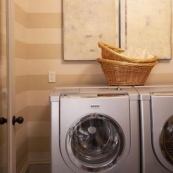 BHG - laundry/mud rooms - tan, tone on tone, striped, walls, abstract, art, striped walls, striped laundry room walls, horizontally striped walls, laundry room,