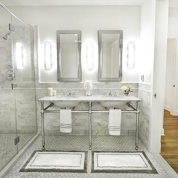 Marie Burgos Design - bathrooms - Double sink, bathroom, medicine cabinet, glass shower, carrera marble tiles, italian carrera marble,  The master