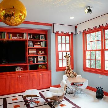 Red Built -ins, Contemporary, media room, Peppermint Bliss