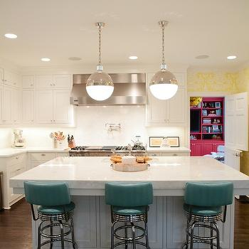 Peppermint Bliss - kitchens - teal, blue, leather, retro, counter stools, yellow, wallpaper, white, shaker, kitchen cabinets, kitchen island, marble, slab, countertops, backsplash, hicks pendant, The Vase Wallpaper by David Hicks, Thomas O'Brien Hicks Pendant,