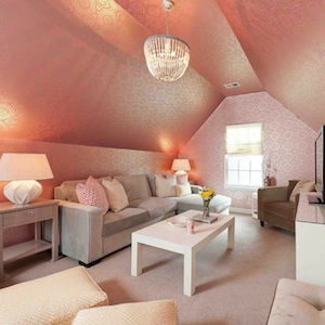 Heather O'Donovan Interior Design - living rooms - seating, lounge, sectional, blue, pink, yellow, taupe velvet, white furniture, pink and gray room, pink and gray living room, gray sofa, gray velvet sofa, pink wallpaper, pink metallic wallpaper, metallic pink wallpaper,