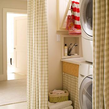 Gingham Curtains, Cottage, laundry room, BHG
