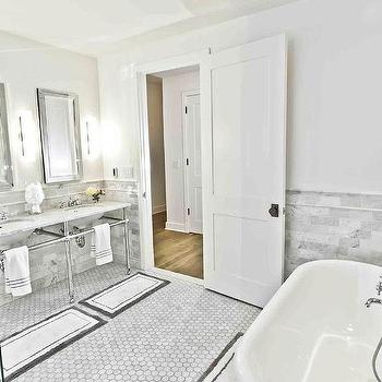His and Her Bath Mats, Transitional, bathroom, Benjamin Moore Decorators white, Marie Burgos Design
