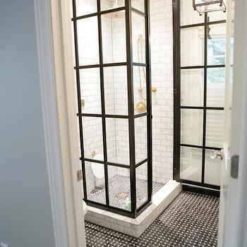 Man Bathroom - Gorgeous glass shower white subway tile shower surround, rain ...