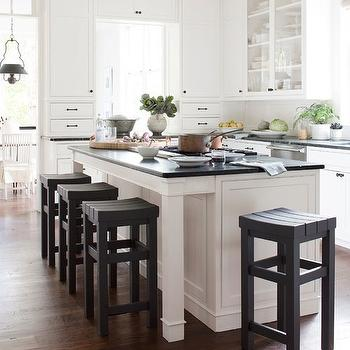 Darryl Carter - kitchens - white, kitchen cabinets, green, soapstone, countertops, custom, stools, black and white kitchen, black and white kitchen design, Benjamin Moore's Phelps Black,