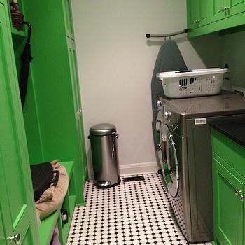 Peppermint Bliss - laundry/mud rooms - green, cabinets, vintage, black, white, tiles, gray, front-load, washer, dryer, laundry room, colorful laundry room,