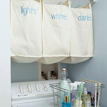 BHG - laundry/mud rooms - blue, walls, white, washer, metal, basket, hanging, linen, hamper, bags, laundry room, laundry room design, laundry room bins, laundry bins, laundry sorter, laundry room sorter, laundry bin ideas, laundry room bin ideas, laundry sorter ideas, laundry room sorter ideas,
