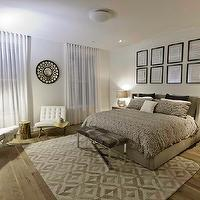 Marie Burgos Design - bedrooms - Master bedroom, rug, white leather chairs, eases chairs, round mirror, convex mirror, natural oak floors, mercury glass lamps, nightstand table, upholstered bed, grey bedding, cowhide bench, white linen drapes, ibiza chairs, tree trunk side table,