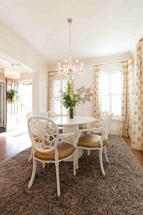 Heather O'Donovan Interior Design - dining rooms - white lacquer, shag rug, organdy drapes, hand-block printing, glass chandelier,  Glam Dining