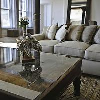 Marie Burgos Design - living rooms - Benjamin Moore - Decorators White - horse head, metal horse, rustic coffee table, cowhide pillow, jute rug, wall mirror, column,