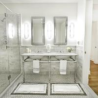 Marie Burgos Design - bathrooms - Double sink, bathroom, medicine cabinet, glass shower, carrera marble tiles,  The master bathroom was designed