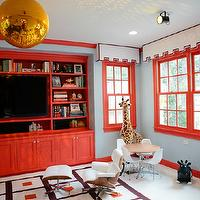 Peppermint Bliss - media rooms - blue, walls, glossy, red, mouldings, white, cornice, boxes, red, trim, glossy, red, built-ins, media center, TV, gold, globe, pendant, Kids, Eames, Lounge, Ottoman, red built ins, red cabinets, red media cabinets, red built in cabinets, Jonathan Adler Peter Rug,